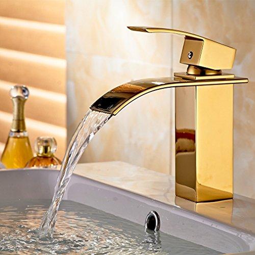 AURALUM Rubinetto lavabo Cascata Ottone Dorato Miscelatore Monocomando per Lavabo da Bagno