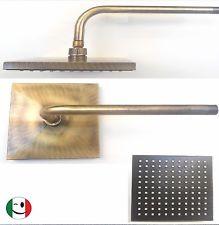"""BRACCIO DOCCIA """"SQUARE"""" SOFFIONE 200x200 mm.BRONZATO - BRONZO"""