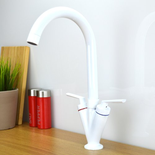 Enki contemporaneo moderno con collo orientabile bianco-Miscelatore per lavello da cucina Reno