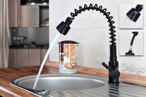 Sanlingo - Miscelatore lavello cucina con doccetta estraibile, colore: Nero